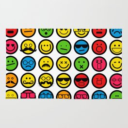 Emotional Emoticon Set Rug
