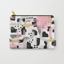 Mosaic Abstract Pink, Black Carry-All Pouch