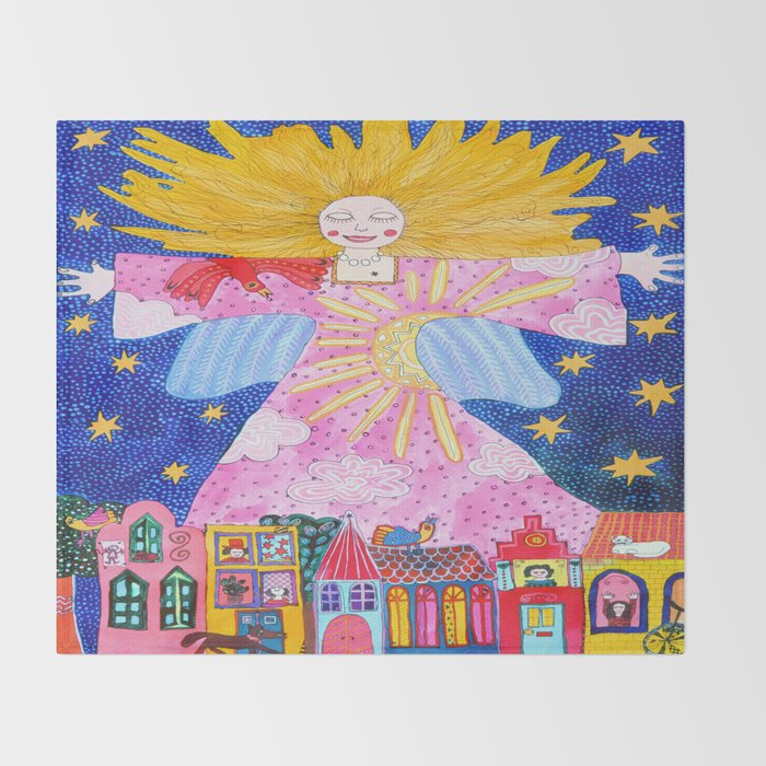 THE GUARDIAN ANGEL Throw Blanket By Kikisuarez Society40 Amazing Guardian Angel Throw Blanket