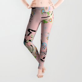 Bicycle and Colorful Floral Ornament Leggings