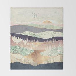 Golden Spring Reflection Throw Blanket