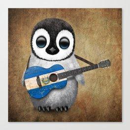 Baby Penguin Playing Salvadorian Flag Acoustic Guitar Canvas Print
