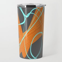 Grey orange and blue Travel Mug