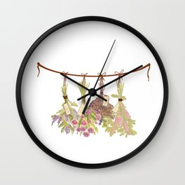 herbs in pastel colors . Wall Clock