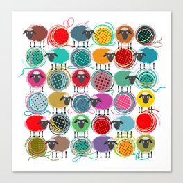 Bright Sheep and Yarn Pattern Canvas Print