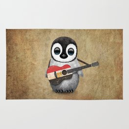 Baby Penguin Playing Egyptian Flag Acoustic Guitar Rug