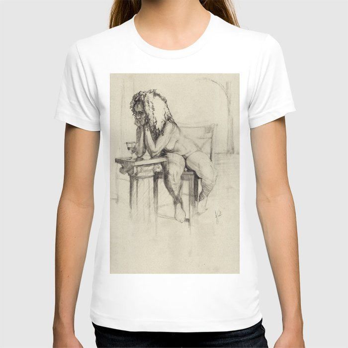 'The Unwinding' Charcoal Drawing Nude woman drinking Wine T-shirt