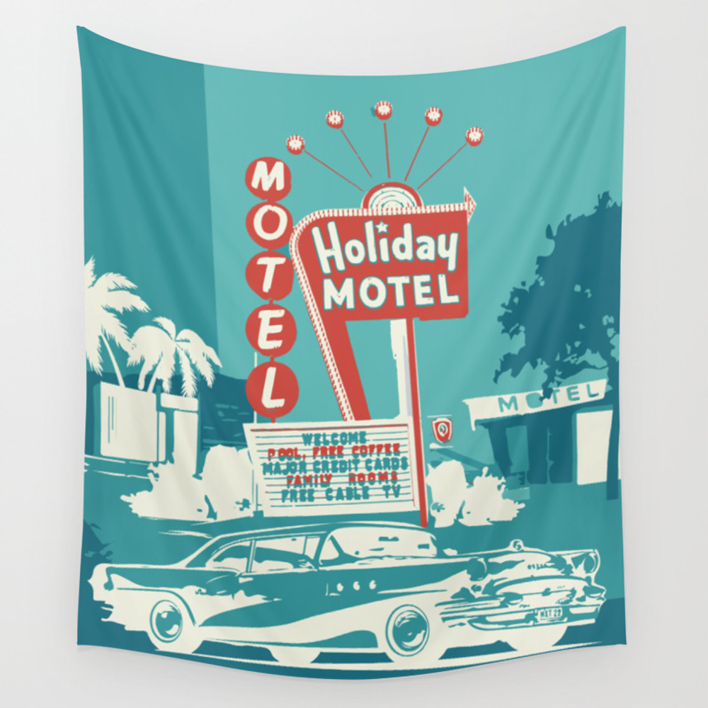 Vintage Car And Motel Sign 50es Style Wall Tapestry by Bettamayer TPS8338163