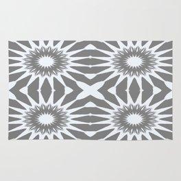 Flannel Gray & White Pinwheel Flower Rug