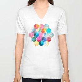 Crystal Bohemian Honeycomb Cubes - colorful hexagon pattern Unisex V-Neck