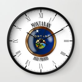 Montana Proud Flag Button Wall Clock