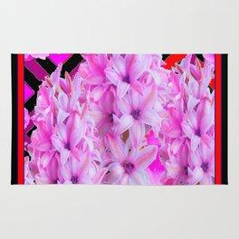 WESTERN BLACK-RED  PURPLISH-PINK ROSES & HYACINTHS Rug