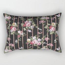 Elegant faux rose gold black stripes vintage blush pink lavender floral Rectangular Pillow
