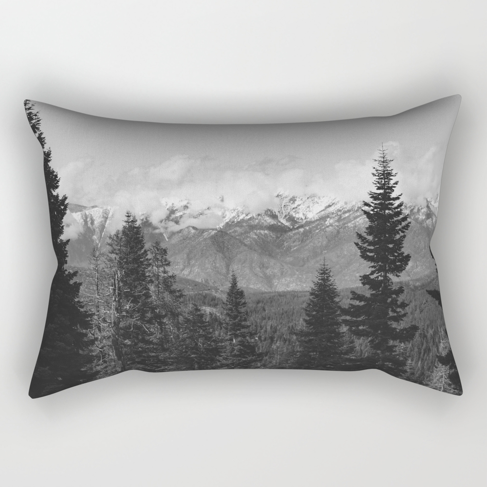 Snow Capped Sierras - Black And White Nature Photo… Rectangular Pillow RPW8952631