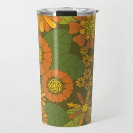 Orange, Brown, Yellow and Green Retro Daisy Pattern Travel Mug