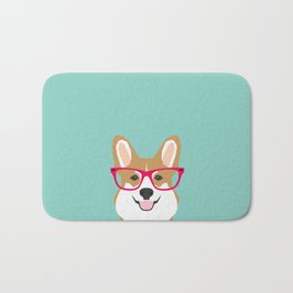 Teagan Glasses Corgi cute puppy welsh corgi gifts for dog lovers and pet owners love corgi puppies Bath Mat
