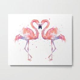 Pink Flamingo Love Two Flamingos Metal Print