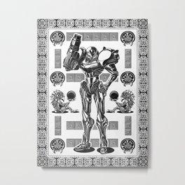 Metroid - Samus Aran Line Art Vector Character Poster Metal Print