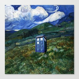 tardis in the countryside Canvas Print