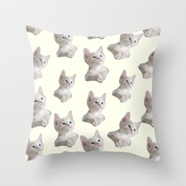 cute girly chic beige white cat pattern Throw Pillow