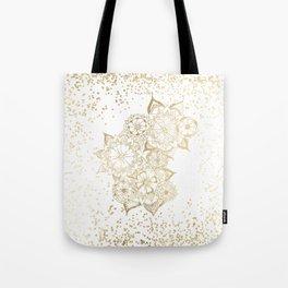 Hand drawn white and gold mandala confetti motif Tote Bag