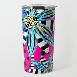 Pinwheel Flowers on Hot Pink Travel Mug
