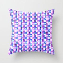 Purple pink blue happy birthday cake print Throw Pillow