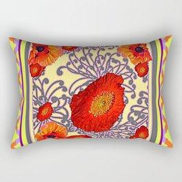 Lemon Caramel Trellis Pattern Poppy Flowers Art Rectangular Pillow