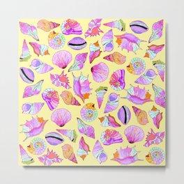 Summer Seashells in Girly Neon Colors Pattern Metal Print