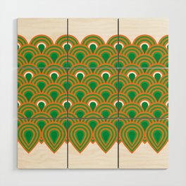 retro sixties inspired fan pattern in green and orange Wood Wall Art
