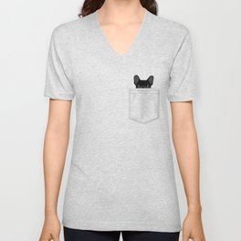 Pocket French Bulldog - Black Unisex V-Neck