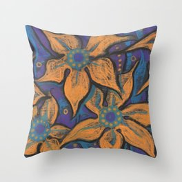 Golden flowers, decorative painting, pastel, floral motive Throw Pillow