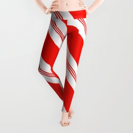 Candy Cane Stripes Holiday Pattern Leggings