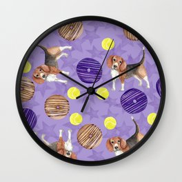 Beagles and donuts Wall Clock
