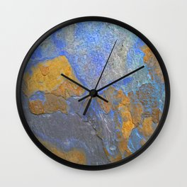 Blue and Orange Marble Pattern Wall Clock