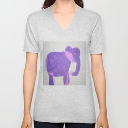 Purple Elephant Unisex V-Neck