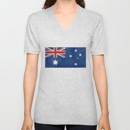 "Australian flag, retro ""folded"" textured version (authentic scale 1:2) Unisex V-Neck"