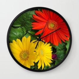 Colorful Daisies Wall Clock