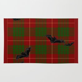 Scottish Tartan Pattern-Black Gothic Bats Art Design Rug