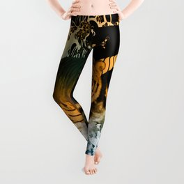 Beautiful tiger with flowers Leggings