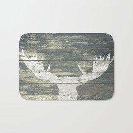 Rustic White Moose Silhouette A424a Bath Mat