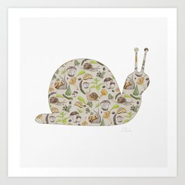 Woodland Snail in Watercolor Fungi Forest, Moss Green and Ochre Earth Animal Pattern Art Print