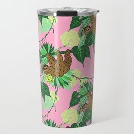 Sloth - Green on Pink Travel Mug