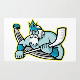 Poseidon Ice Hockey Sports Mascot Rug