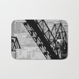 Rail Bridge in Black and White Bath Mat