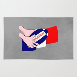 France Rugby Ball Flag Rug