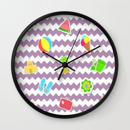 Summertime Girly Beach Pattern | Kids Pink Chevron Pop Art Wall Clock