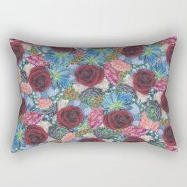 Garden Bouquet  through Stained Glass Rectangular Pillow