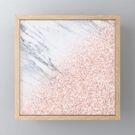 She Sparkles Rose Gold Pink Marble Luxe Geometric Framed Mini Art Print