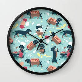 Hot dogs and lemonade // aqua background navy dachshunds Wall Clock